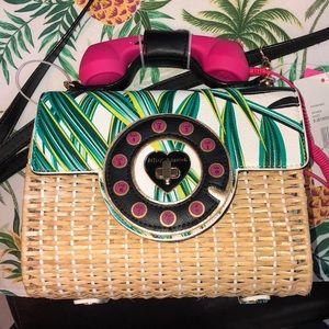 Betsey Johnson  Wicker Phone Crossbody Bag NEW